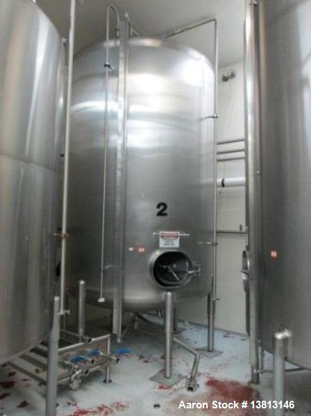 """Used-Cherry Burrell Stainless Steel Tank with 1.5 hp side agitator, 9'4"""" straight wall, 84"""" diameter, 12' overall length, do..."""