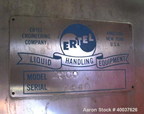 """Used- Ertel Tank, 2000 gallon, stainless steel, vertical. Approximately 80"""" diameter x 96"""" straight side. Slight dished top ..."""