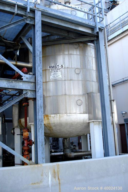 """Used: Four Corp tank, approximately 6000 gallon, 316L stainless steel, vertical. Approximately 10' diameter x 11'6"""" straight..."""