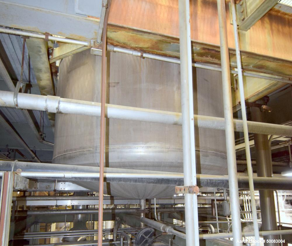 "Used-Mason Steel Tank, Approximately 2,500 Gallons, Stainless Steel, Vertical. Approximate 96"" diameter x 74"" straight side,..."