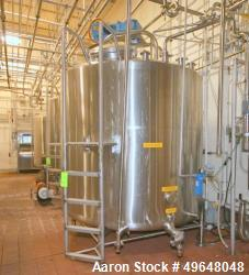 """Used-Aprox. 2,000 Gal. Stainless Steel Single Wall Vertical Tank, Tank Internal Dims.:  Aprox. 83"""" Tall x 88"""" Dia. with Dual..."""