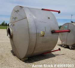 "Used- Tank, Approximate 2000 Gallon, Stainless Steel, Vertical. Approximate 96"" diameter x 60"" straight side, coned top & bo..."
