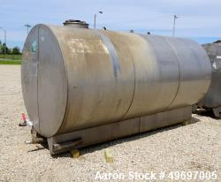 Used- Tank, Approximate 2400 Gallon, Stainless Steel, Horizontal.
