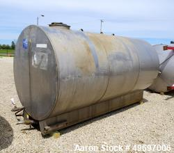"Used- Tank, Approximate 2400 Gallon, Stainless Steel, Horizontal. Approximate 70"" diameter x 144"" straight side, flat ends. ..."