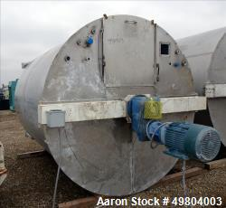 "Used- Bright Sheet Metal Tank, Approximately 3,000 Gallon, 304 Stainless Steel, Vertical. 90"" diameter x 108"" straight side,..."