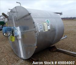 "Used- Bright Sheet Metal Tank, Approximately 1,000 Gallon, 304 Stainless Steel, Vertical. 72"" Diameter x 72"" straight side, ..."