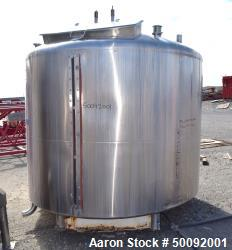 Used-Item J-Mueller 2000 gallon dome top mix tank, stainless steel, 3 HP. sweep agitators, manway, load cells, piping, valves