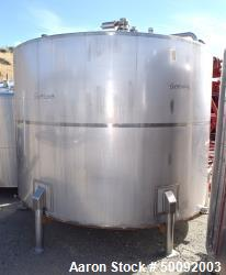 Used-Item H-3500 Gallon stainless steel mix tank, flat top, manway, 5 HP. sweep agitator, valves, piping