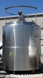 Used- Damrow Tank, 2,400 Gallon, Stainless Steel, Vertical.