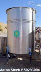 """Tank, Approximately 1,800 Gallon, Stainless steel. Approximate 82"""" diameter x 80"""" straight side. App..."""