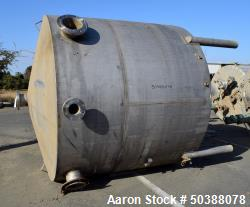 "Used- Tank, Approximate 2200 Gallon, Stainless Steel, Vertical. Approximate 90"" diameter x 78"" straight side, coned top and ..."