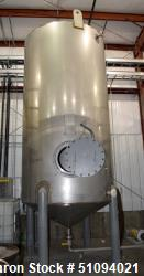 "Used- A&B Process Tank, 3000 Gallon, 304L Stainless Steel, Vertical. Approximate 78"" diameter x 144"" straight side, coned to..."