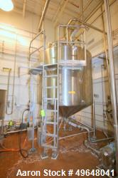 Used-DCI 2,000 Gal. Stainless Steel Single Wall Tank, Serial # 98-D-574240-P, with Dome Top/Cone Bottom, Mounted on Stainles...