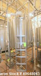 Used-DCI 1,000 Gal. Stainless Steel Single Wall Vertical Tank, Serial # JS961-A, Dome Top/Cone Bottom, with Stainless Steel ...