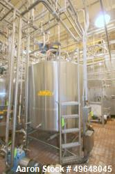 Used-DCI 2,000 Gal. Stainless Steel Single Wall Tank, Serial # 90-D-40569-B, with Dual CIP Spray Ball, Dome Top/Cone Bottom,...