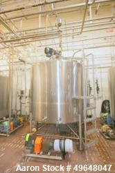 Used-DCI 2,000 Gal. Stainless Steel Single Wall Tank, Serial # 92-D-44569-A, with Dual CIP Spray Ball, Dome Top/Cone Bottom,...