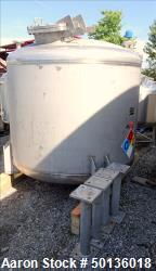 Used- Four Corp. Pressure Tank, Approximate 1,000 Gallon, 316L Stainless Steel