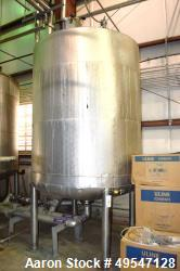 "Used- Mueller Tank, 1500 Gallon, 304 Stainless Steel, Vertical. 72"" Diameter x 84"" straight side, dished top and bottom. Int..."