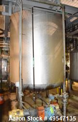 """Used- Mueller Pressure Tank, 2500 Gallon, 304L Stainless Steel, Vertical. 84"""" Diameter x 96"""" straight side, dished top and b..."""
