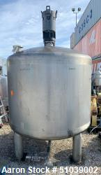 Used-Tank, Approximately 1000 Gallon, Stainless steel with Agitator