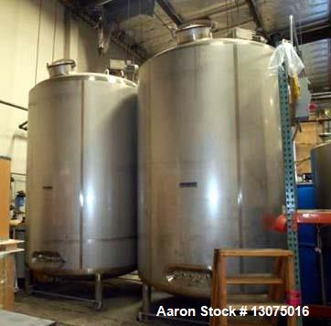 Used- 3,000 Gallon, Stainless Steel, Jacketed Mueller Tanks