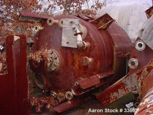 "USED:Nooter vacuum receiver tank. Stainless steel, 1500 gallon,vertical. Dished heads. Measures 5'6"" dia x 8' straight side...."