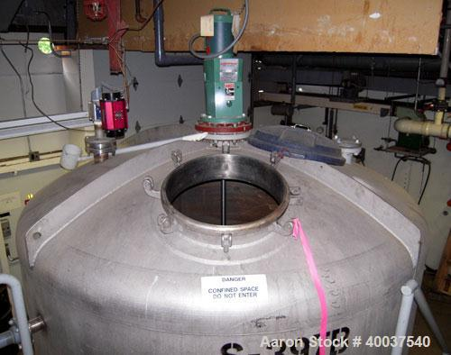 """Used- Mueller tank, 2200 gallon, stainless steel, vertical. Approximately 96"""" diameter x 63"""" straight side, dished top and b..."""
