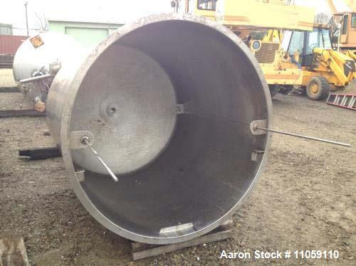 """Used- 1,100 Gallon Scott Turbon Stainless Steel Tank. Open top with dish bottom. 5'6"""" diameter x 6' T/T, 11'10"""" OAH. 3"""" outl..."""