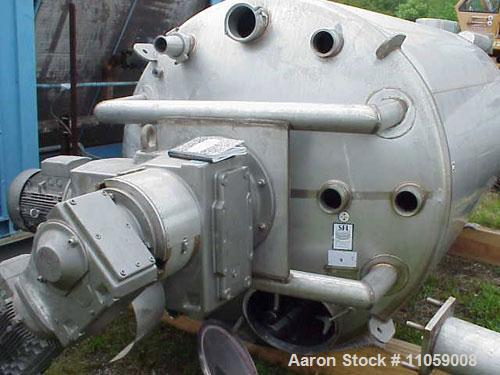 Used-Stainless Fabrication 2000 Gallon, 316 stainless steel, tank. Sanitary double motion / twin action mix tank. 6' diamete...