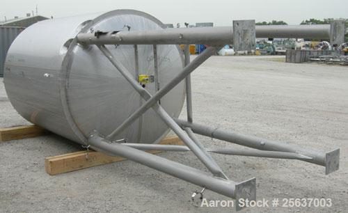 "Used- Stainless Fabrication Tank, 2,000 gallon, 316L stainless steel. 75"" diameter x 102"" straight side, dished top and bott..."