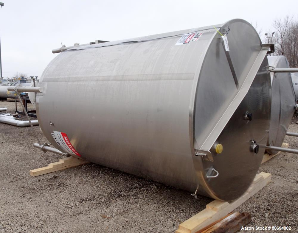 Used- Walker Holding Tank, 3000 Gallon, 316 Stainless Steel, Vertical.