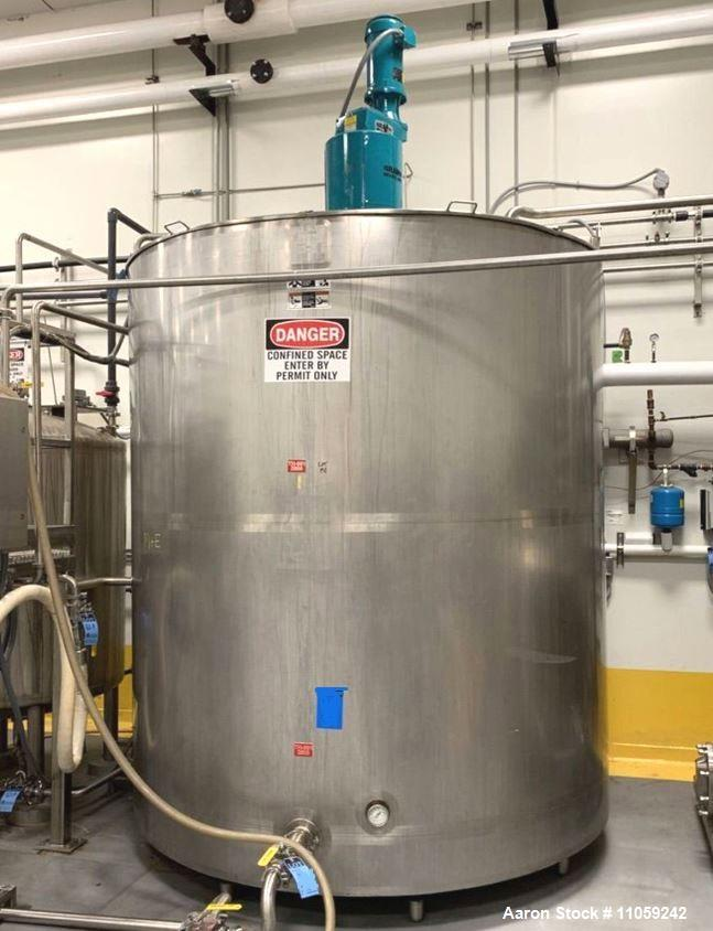 Used-2500 Gallon Walker Jacketed Stainless Steel Mix Tank