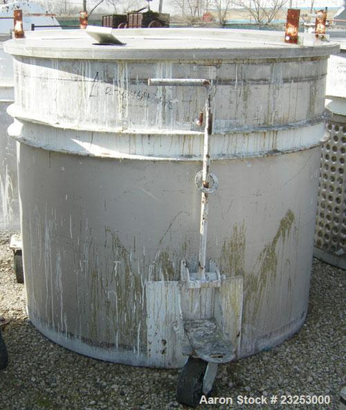 """Used:Central Fabricators stainless steel mixing can , 60"""" diameter x  50"""" deep, sloped bottom, 2"""" side bottom outlet. Mounte..."""