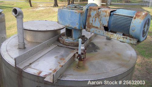 """Used-Tank, Approximately 500 Gallons, Stainless Steel, Vertical. 60"""" diameter x 48"""" straight side. Flat top, dish bottom. 2""""..."""