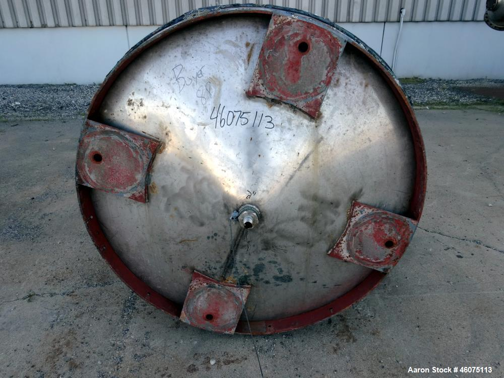 "Used- Tank, 650 Gallon, 304 Stainless Steel, Vertical. Approximate 52"" diameter x 60"" straight side, coned top & bottom. Ope..."