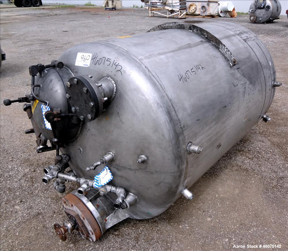 """Used- Tank, 500 Gallon, 304 Stainless Steel, Vertical. Approximate 48"""" diameter x 60"""" straight side, dished top & bottom. Of..."""