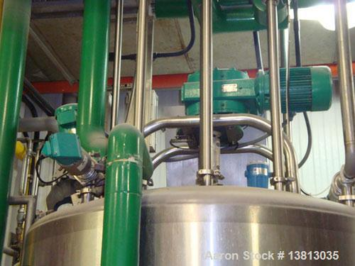 Used-DCI 750 Gallon stainless steel, hot water jacketed, process tank with dual agitation, Lightnin style mixer and addition...