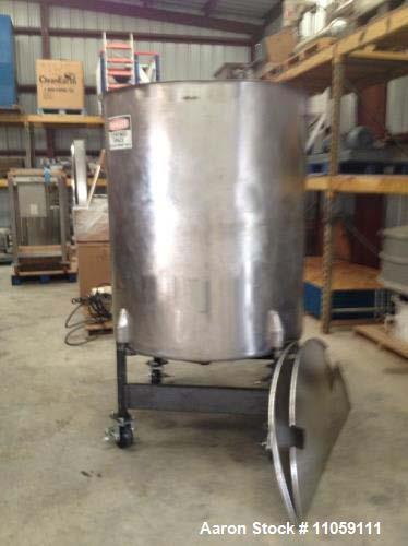 """Used- 560 Gallon Perma-San, Model 560OVC Stainless Steel Tank. 4'2"""" diameter x 4'10"""" T/T. Open top and dish bottom, 7'11"""" OA..."""