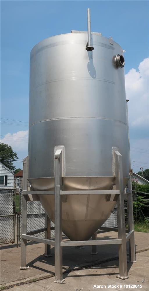 Used- Andritz Conical Bottom Tank, 5,000 gallon, vertical 304L Stainless Steel