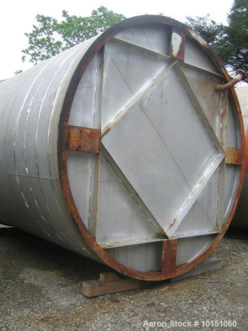 Used-Approximate 10,000 gallon vertical 304 stainless steel tank. 11' Diameter x 15' straight side. With flat top and slope ...