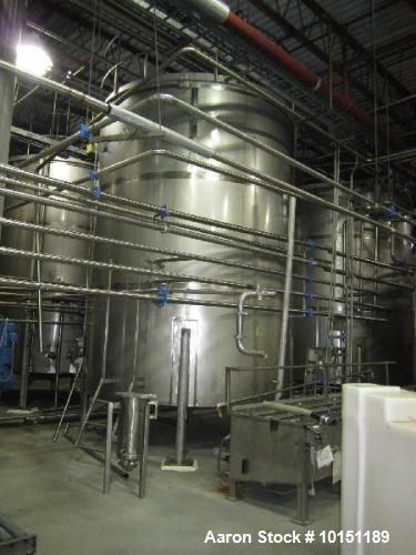 Used- 10,000 gallons Stainless Steel Vertical Agitated Tank