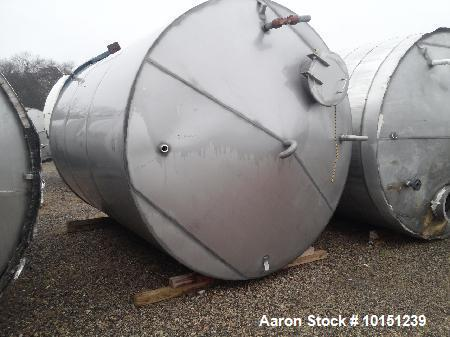 "Used-5900 Gallon (Approximately), 304 Stainless Steel Vertical Storage Tank. Approximately 9' 3"" diameter x 12' straight sid..."