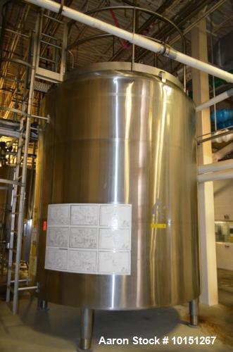 Used- 6,000 Gallon (Approximately) Stainless Steel Vertical Aseptic Product Tank. Dome top, flat bottom off center. Top moun...