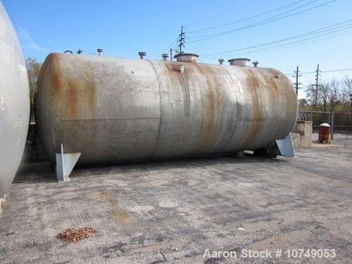 Used-Approximately 15,000 Gallon 316 Stainless Steel Horizontal Storage Tank.  Approximately 10' diameter x 24' straight sid...