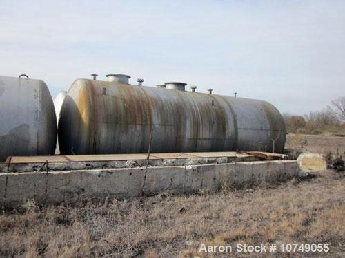Used-Approximately 15,000 Gallon 316 Stainless Steel Horizontal Storage Tank. Approximately 10' diameter x 24' straight side...