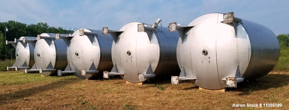 Used- 15,000 Gallon 304 Stainless Steel Agitated Tank. Dish Bottom and Top. Top manway. Equipped with Alsop Model 200- Explo...