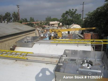 """Used-Tank, 10,000 Gallons, Stainless Steel.  Unit is jacketed on bottom and is insulated. Tank measures 116"""" diameter x 224""""..."""