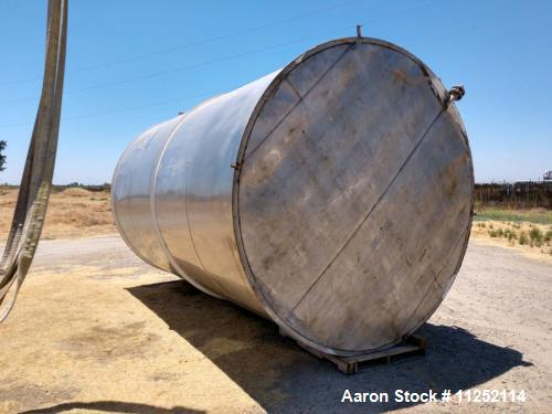 Used- Stainless Tank, Approximately 8,250 Gallon Capacity