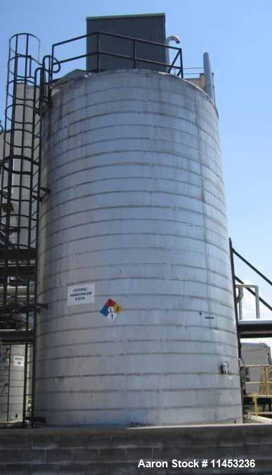 """Used- 27,000 Gallon Stainless Steel Storage Tank. Approximately 13'6"""" diameter x 26' straight side, dome top, flat bottom."""