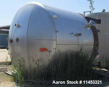 """Used- 11,500 Gallon Stainless Steel Storage Tank. 12'6"""" diameter x 11' straight side, dish top and bottom, 4"""", (2) 3"""", (2) 2..."""
